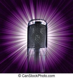 microfone, ligado, estrela roxa, estouro