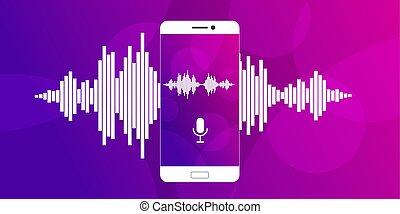 microfone, ligado, tela, de, um, smartphone