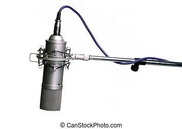 microfone, ligado, tripé