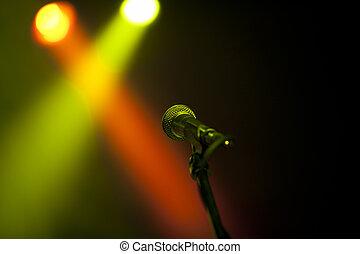 microfone, ligado, um, fase