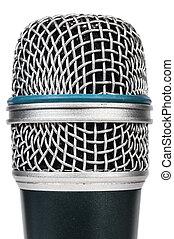 microfone, ligado, um, fundo branco