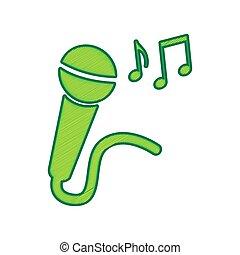 microfone, limão, notas., isolado, sinal, experiência., música, vector., branca, rabisco, ícone