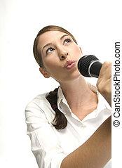 microfone, mulher, cantando