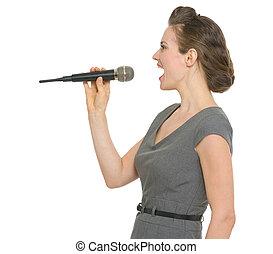 microfone, mulher, cantando, isolado