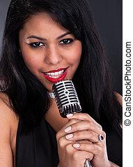 microfone, mulher, cantando, jovem