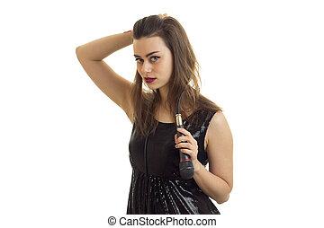 microfone, mulher, dela, olhando jovem, câmera, mãos, cutie