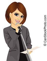 microfone, mulher, falando