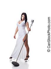 microfone, mulher, longo, posar, excitado, vestido