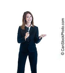 microfone, mulher segura, fundo branco, sorrindo, caucasiano