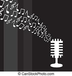 microfone, notas música