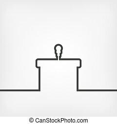microfone, pódio