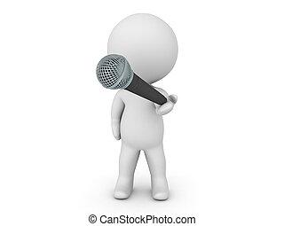 microfone, personagem, oferecendo, 3d