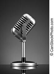 microfone, retro, cinzento