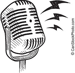 microfone, retro, esboço