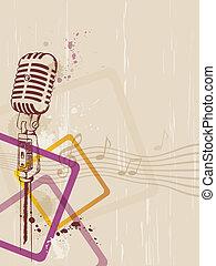 microfone, retro, fundo