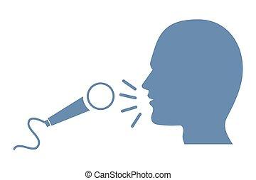 microfone, silueta, cabeça, human