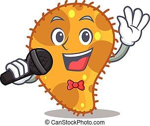 microfone, talentoso, personagem, segurando, cantor, caricatura, pseudomonas
