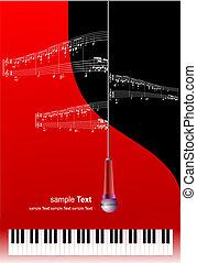 microfone, texto, imprimindo, música, lugar, piano