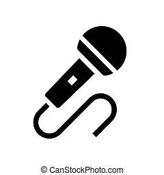 microfone, vetorial, ícone, áudio