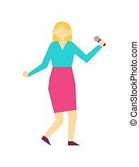 microfone, vetorial, cantando, femininas, ilustração