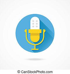 microfone, vetorial, ou, recordin, áudio