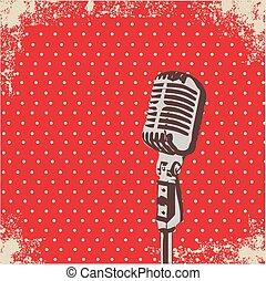 microfone, vetorial, ponto