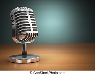 microfone, vindima, experiência., verde, retro, style.