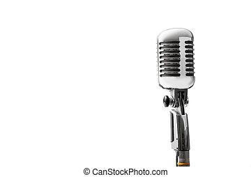 microfone, vindima, isolado, retro, fundo, branca