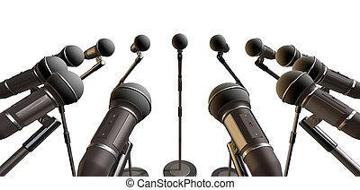 microfones, matriz, plataformas