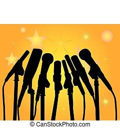 microfones, silhuetas, pretas