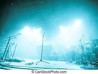 microfoni, attesa, musicisti, venire, palcoscenico vuoto