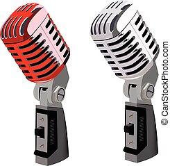 microfoni, classico, rosso, metallico