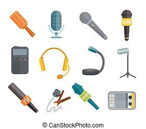 microfoni, differente, vettore, tipi, icone
