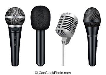 microfoni, stile, apparecchiatura, vendemmia, mic, misc, isolato, realistico, vettore, studio, immagini, musica, 3d.