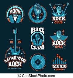 microfoni, vettore, labels., produzione, studio, chitarre, musica, musicale, tesserati magnetici
