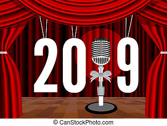 microfono, 2019, fondo, anno, nuovo, felice, palcoscenico