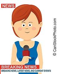 microfono, corrispondente, reporter, -, vivere, donna, giornalista, femmina, notizie