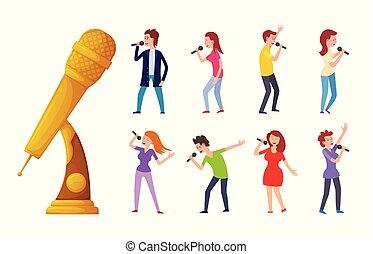 microfono, donna, premio, canto, cartone animato, uomo