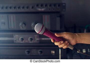 microfono, donna, retroscena, concerto, mano