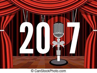 microfono, fondo, anno, nuovo, felice, palcoscenico
