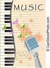 microfono, grunge, astratto, musica, retro, fondo