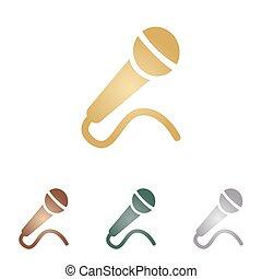 microfono, illustration., icone, metallo, backgound., segno, bianco