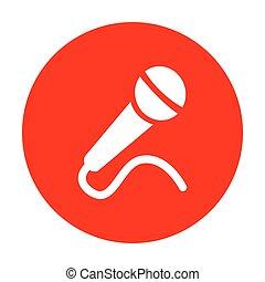 microfono, illustration., segno, bianco, circle., rosso, icona