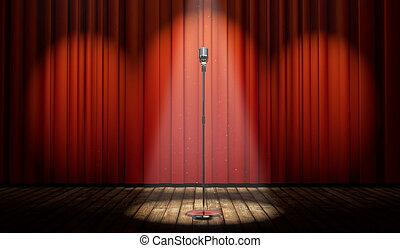 microfono, luce, macchia, vendemmia, tenda, palcoscenico, rosso, 3d