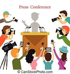 microfono, macchina fotografica, giornalista, conferenza ...