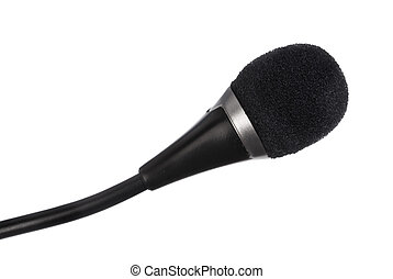 microfono, nero, sfondo bianco