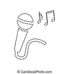 microfono, note., isolated., dashed, segno, fondo., musica, vector., nero, bianco, icona