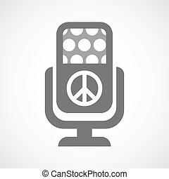 microfono, pace, isolato, icona, segno
