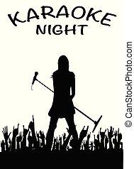 microfono, ragazza notte, karaoke