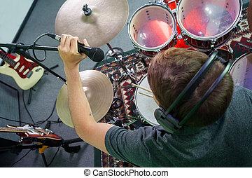 microfono, regolazione, registrazione, tamburino, studio, maschio